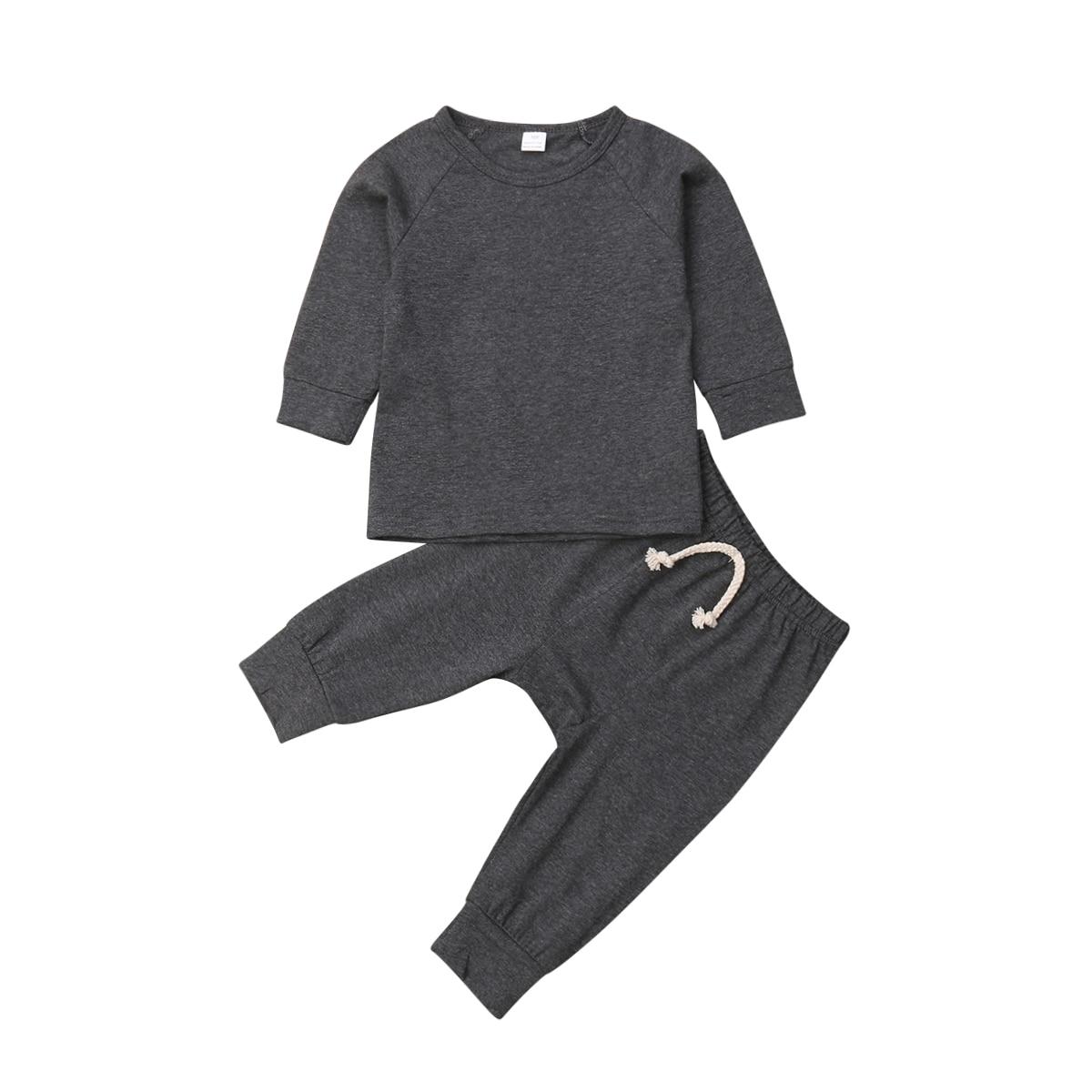 Хлопковый пижамный комплект с длинными рукавами для новорожденных мальчиков и девочек от 0 до 24 месяцев, одежда для сна, одежда для сна, топы и штаны, комплекты одежды для малышей из 2 предметов - Цвет: Темно-серый