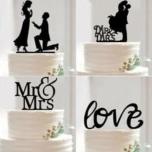 Mr Mrs Wedding Cake Topper Acrylic Black Romantic Bride Groom
