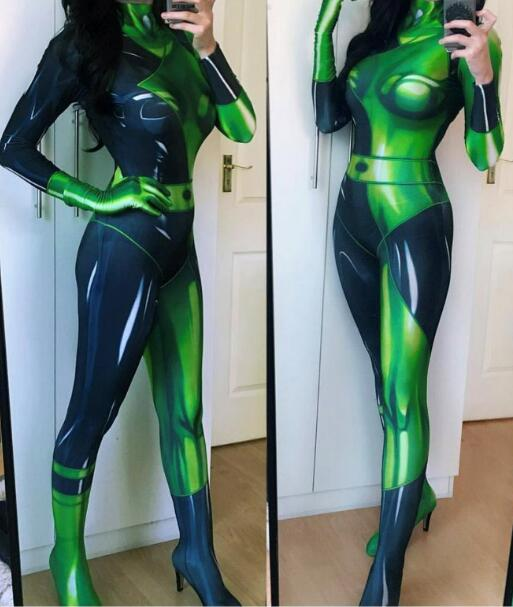 Cheap 3D Print Customized Movie Kim Possible Female Shego Costume Super Villain Halloween Lycra Spandex Cosplay Shego Body Suit