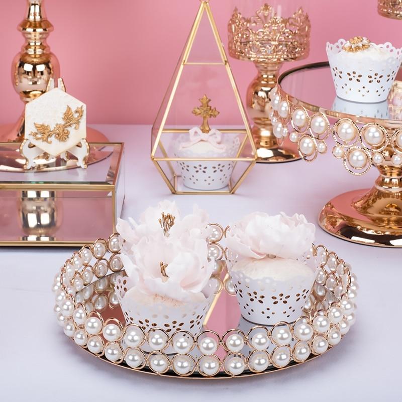 Plateau de perles rondes plaque de cupcake or/argent avec miroir dessert table outils de décoration de gâteau de mariage parfum bijoux de stockage