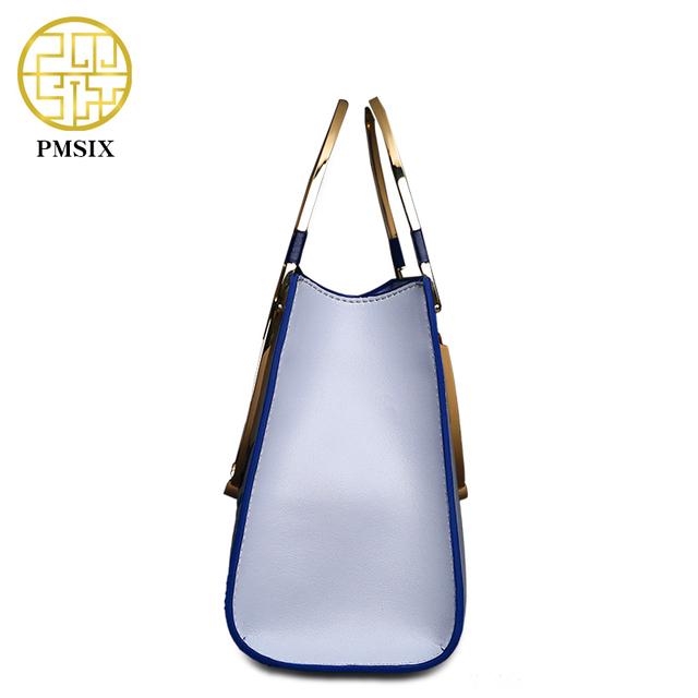 Pmsix 2017 New Metal Handle Split Leather Women Bag Embroidery Chain Shoulder Bag Fashion Ladies Purses And Handbags P120052
