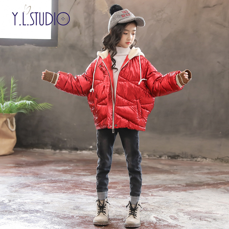 teenage quilted jacket long kids coats winter girl Solid Batwing Sleeve Hooded warm winter jackets girls Hooded fashion 2018 stylish solid color batwing sleeve asymmetrical tops for women