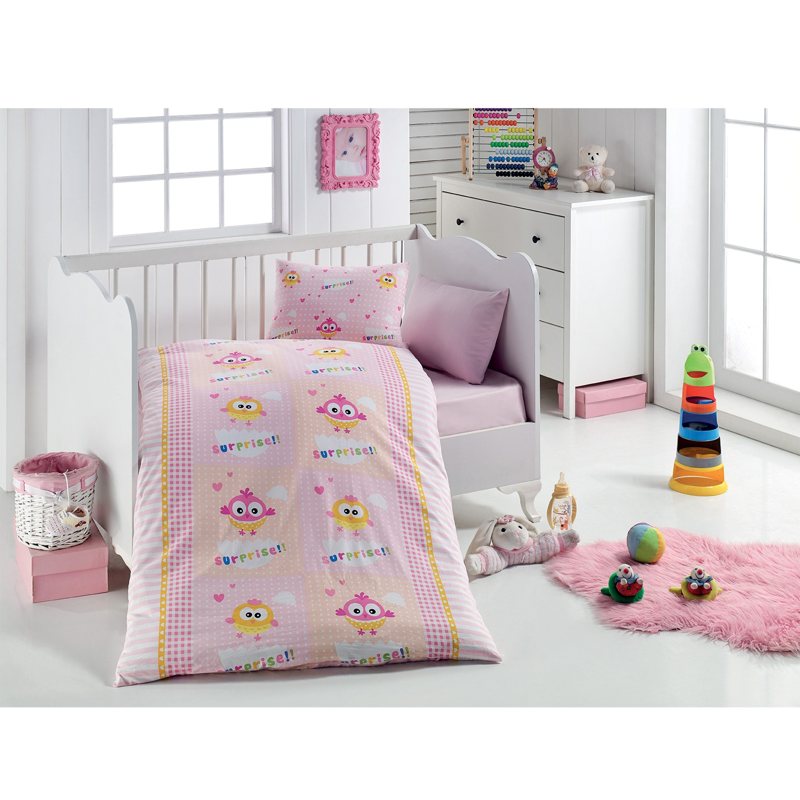 Ebebek Little Dreams Baby Chick Patterned Duvet Cover Set