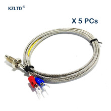 5PCs/Lot K Type Thermocouple 1M 2M Wire Thermo Sensor 0-400 Degree High Temperature Thermocouple K-type Probe M6 Screw Probe