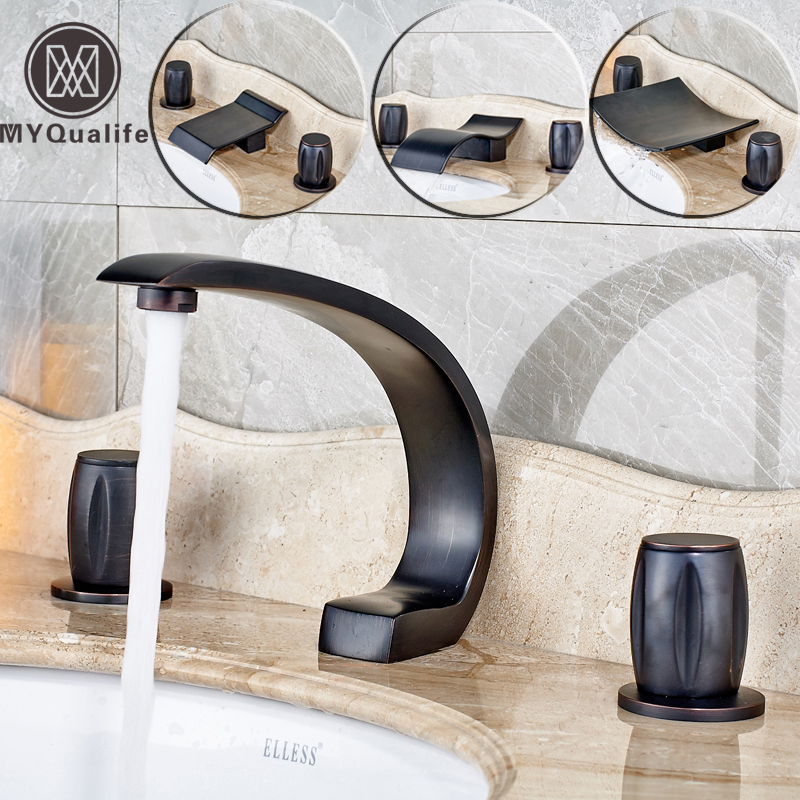 New Oil-rubbed Bronze Wide Waterfall Spout Bathroom Sink Basin Mixer Faucet Two Handles Widespread Lavatory Sink Faucet new oil rubbed bronze wide waterfall spout bathroom sink basin mixer faucet two handles widespread lavatory sink faucet