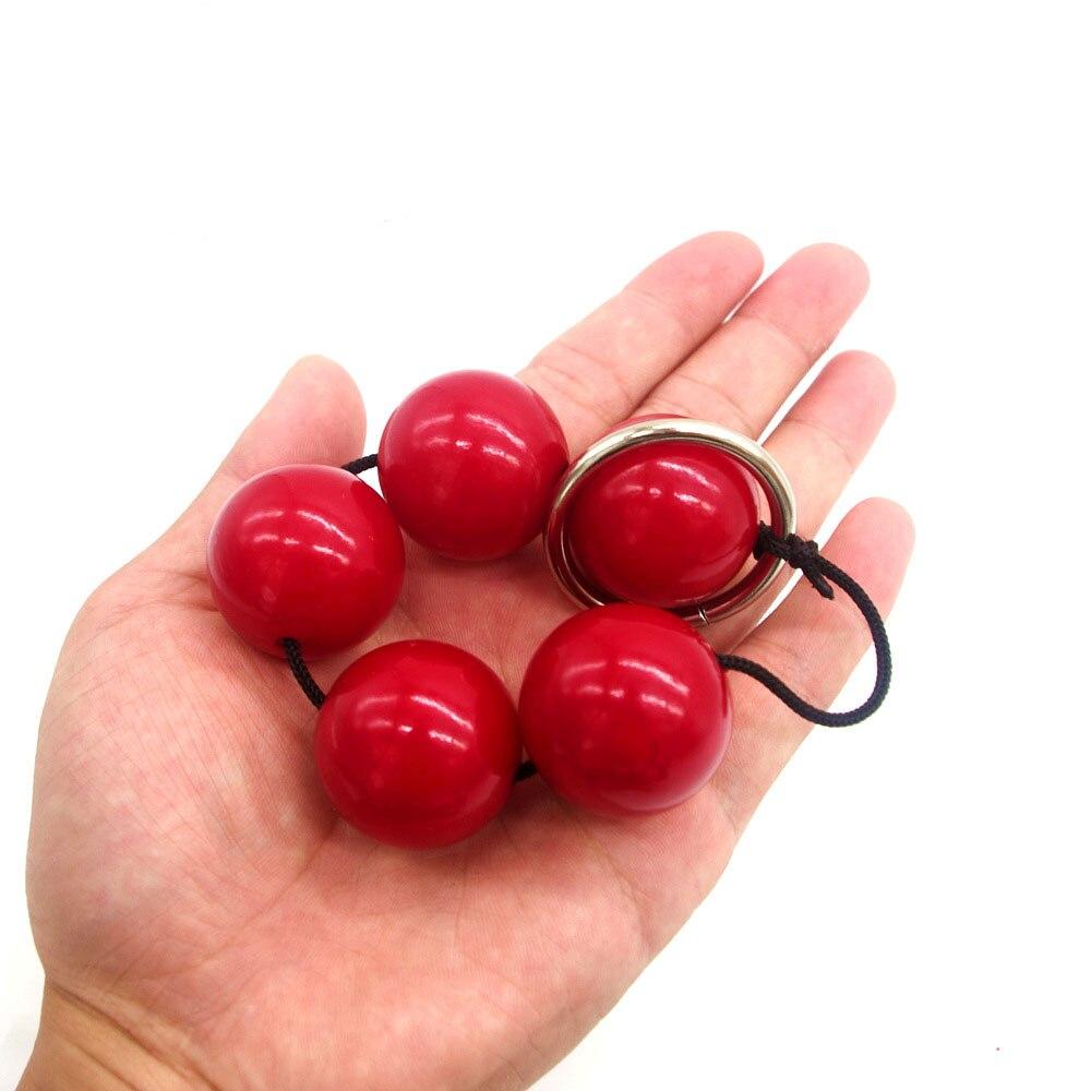 Red Anal Beads 5 Anal Balls Butt Plug Anus Stimulator Dilator Anal Plug Prostata -1037