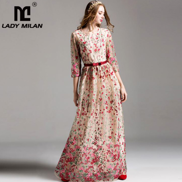 Luxury New Arrival 2018 Women s O Neck 3 4 Sleeves Embroidery Elegant Floral Maxi Runway
