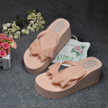 Summer Women Sandals Bowtie Beautiful Trifle Wedges Flip Flops Ladies Sandals Bohemian Muffin Slope Casual Beach Shoes