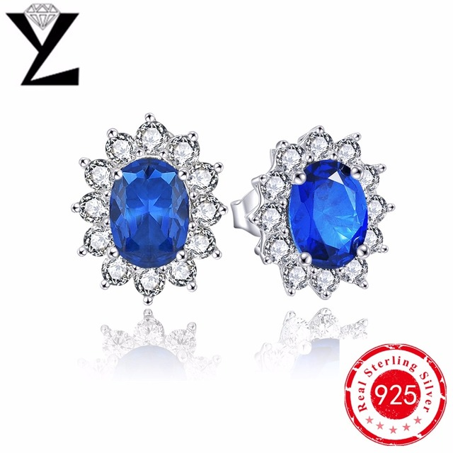 Created sapphire blue cubic zirconia 925 sterling silver stud earrings for women with natural stone party elegance stud earrings