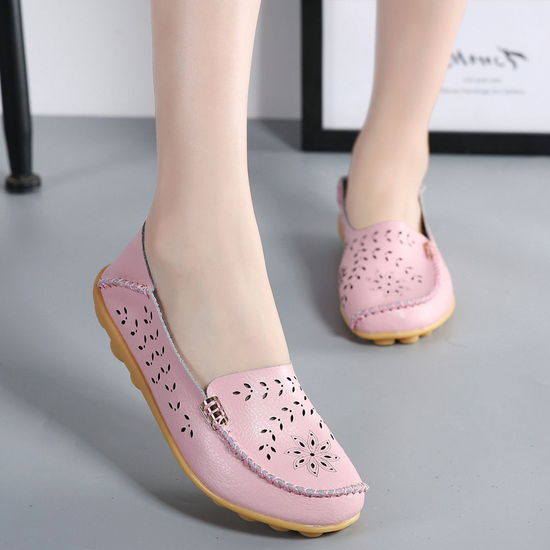 Women Flat  2018 Summer genuine leather Platform Shoes Woman Comfortable Breathable Sweet Flats Women Casual Lace Pattern Shoes flats new women s shoes in spring and summer 2017 will be able to make comfortable and sweet flat footed women s shoes
