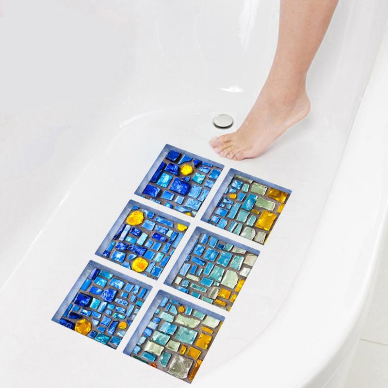 6pcs 3D Bathtub Sticker Blue Mosaic Imitation Decoration Home Wall Stickers Decal Bathroom Products 150 x 150mm
