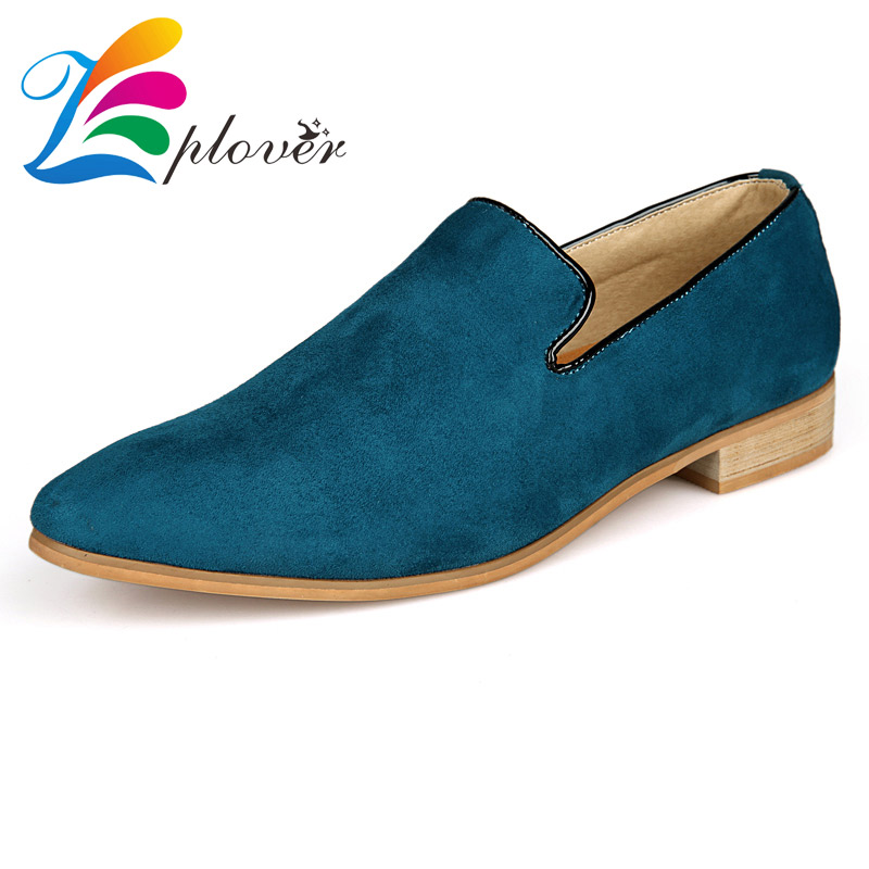 Zplover Män Skor 2016 Fashion Pointed Toe Men Sammet Loafers Mjuk Läder Platt Skor För Män Designer Skor Zapatillas Hombre