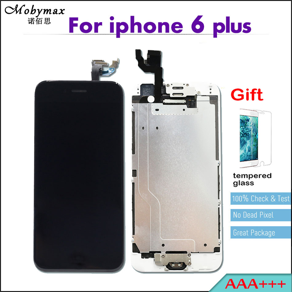 Quality AAA+++ LCDS for Apple iphone 6 plus Full Assembly Capacitive Screen Digitizer Display+Home Button+Front Camera+Frame