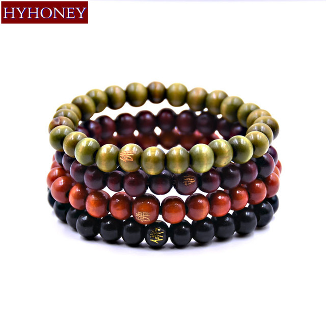 HYHONEY 1 Set 4 pcs Wood beaded Multilayer wrap-around Bracelets Elasticity Cuff