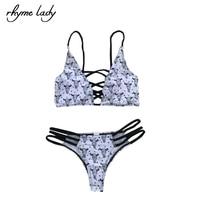 2017 Rhyme Lady Women Bikini Set Bandage Design Halter Strap Push Up Top Tong Bikini Bathing
