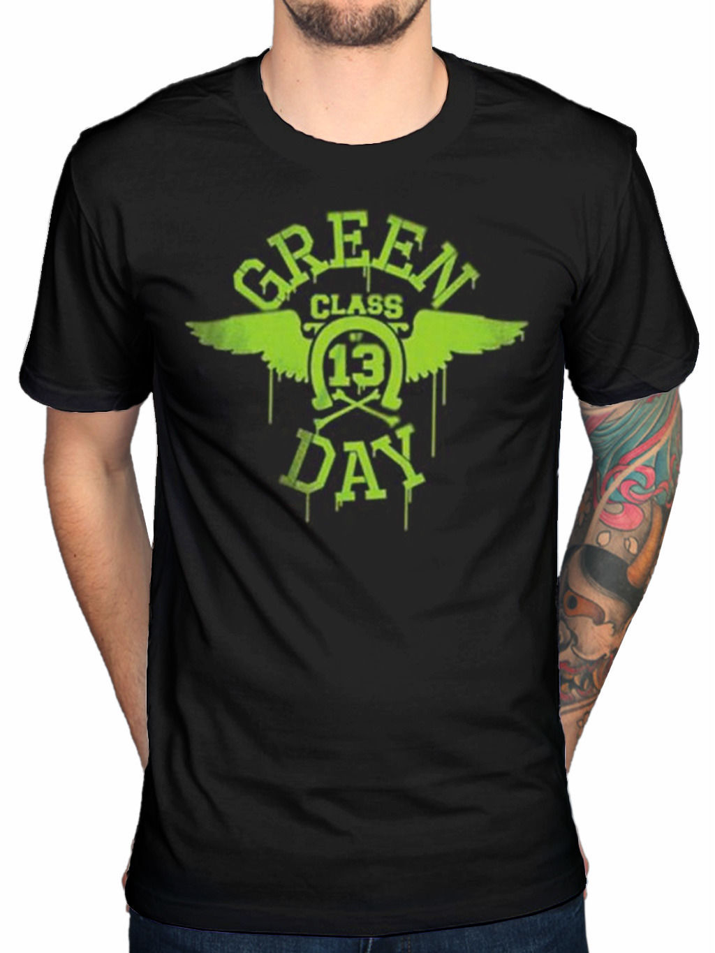 Black t shirt with neon letters - Printing O Neck Green Day Neon Green Class 13 T Shirt Bullet In A Bible