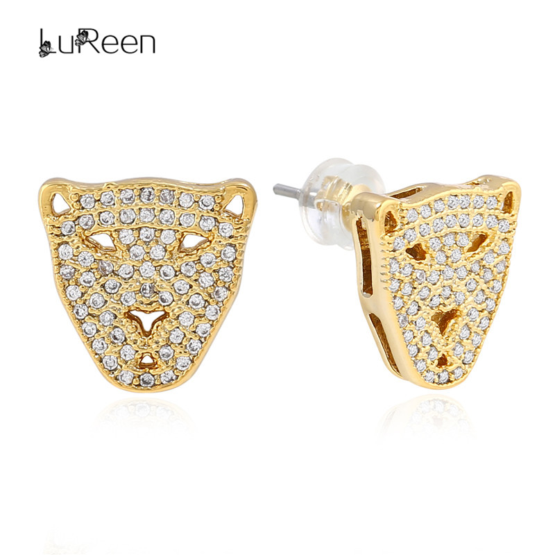 LuReen Micro Pave Iced Out CZ Zirconia Leopard Head Stud Earring For Women Hip Hop Gold Screwback Earrings Mens Jewelry LE0253