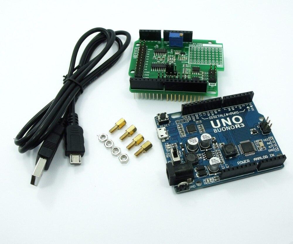 DAQ-1000 3CH 15bit DAC 10bit ADC 4DI UNO R3 andmete kogumise komplekti madala hinnaga