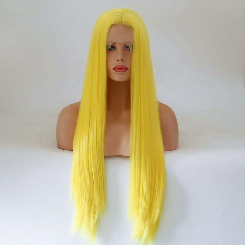 Charisma 26 Inch Yellow Synthetic Long Straight Hair Lace Front Wigs Glueless For Women Natural Hairline
