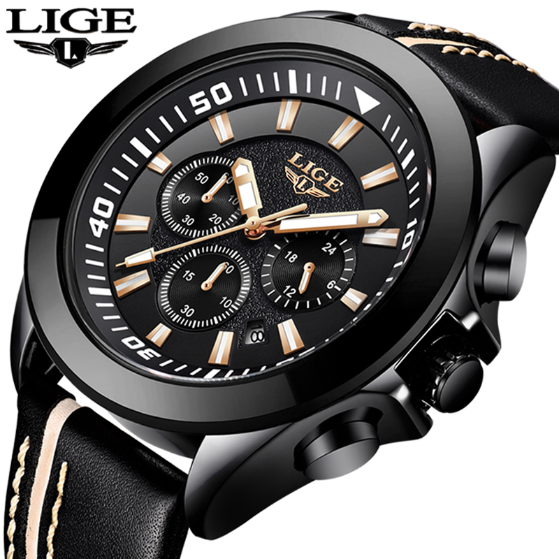 лучшая цена Relogio Masculino New Mens Watches LIGE Top Luxury Brand Male Leather Multi-function Quartz Watch Mens Waterproof Sport Clock