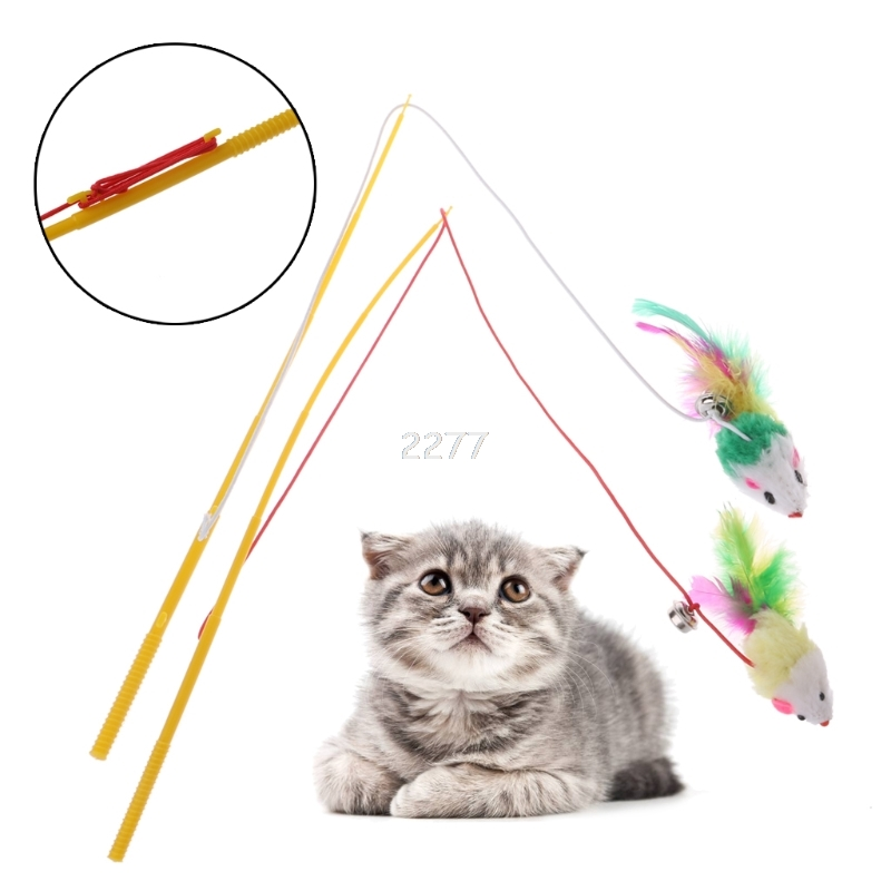 False Mouse Cat Toy Plastic Rod Elastic Rope Play Pet Dangler Wand Teaser Toys MAY02