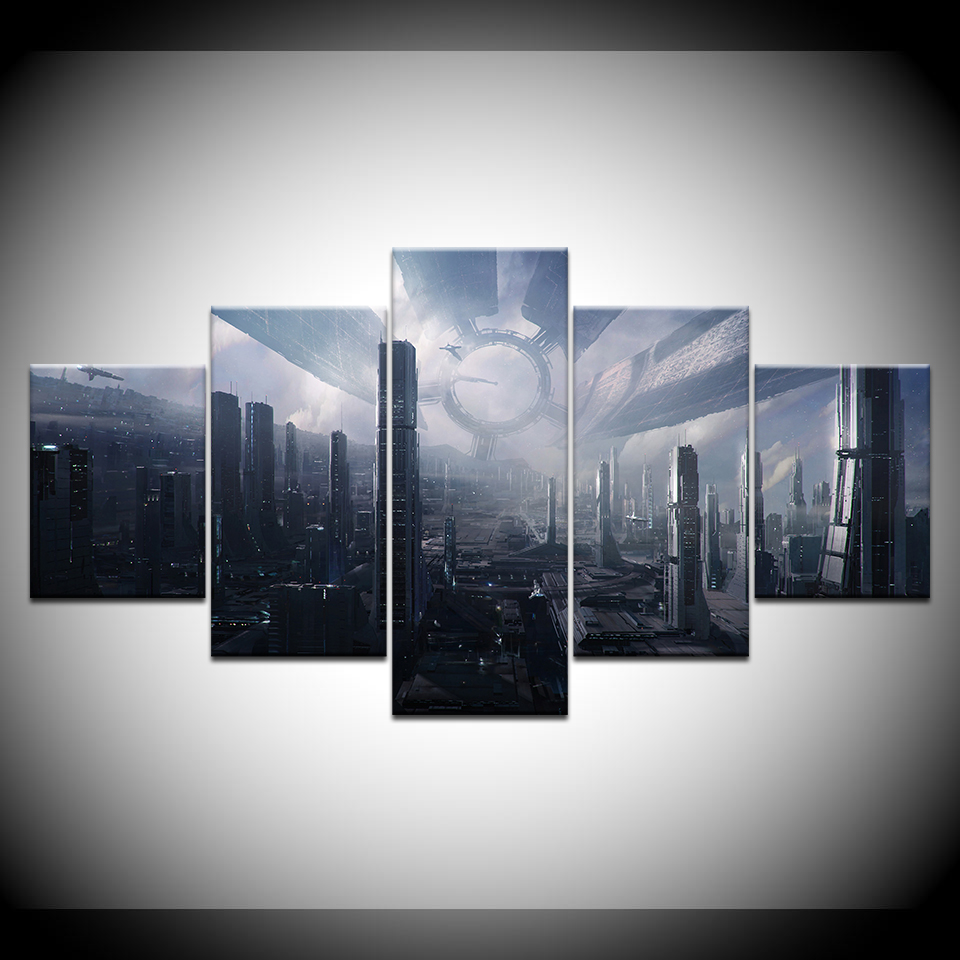 5panel Modular frame canvas Citadel (Mass Effect 1.2.3)game poster print Wall Art hoome Decor living room picture Artwork