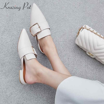 Krazing pot genuine leather thick low heels shallow slip on metal buckle decoration wedding mules pointed toe women pumps L08