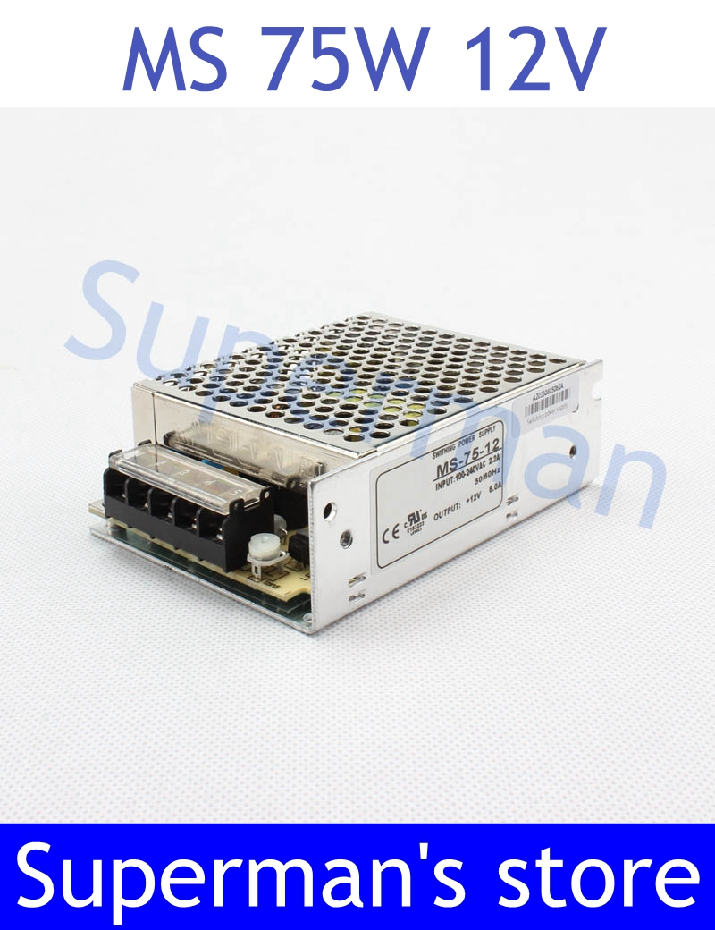 все цены на Top Quality power supply 75w 12V power suply unit 75w 12v mini size din led ac dc converter  ms-75-12
