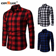 Covrlge Men Plaid Shirt New Spring Autumn Black White Long Sleeve Chemise Homme Cotton Male Check Shirts MCL217