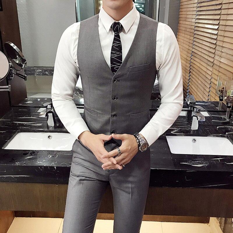 2019 New Arrival Dress Men Vest Suit Slim Fit Male Waistcoat Gilet Man Vest Wedding Formal Business Sleeveless Jacket M- 4XL 501