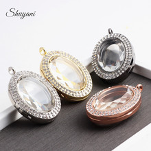 10pcs/lot New 2015 Floating Locket Magnetic Living Glass Memory Locket Pendants Oval Floating Charm Locket