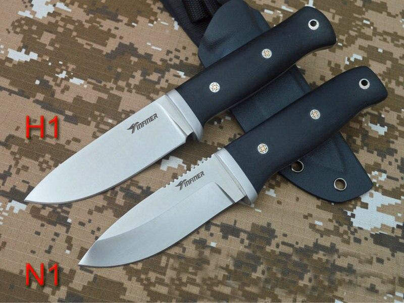 Trskt INFINER H1/N1 couteau de chasse de survie lame satinée A2 acier, 60Hrc, G10 poignée avec gaine Kydex couteaux de sauvetage en plein air