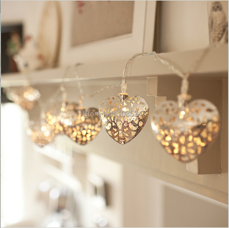 3.3M 20LED Battery Operated Silver Heart LED Fairy Lights String Decoration Light for Festival Halloween Christmas Party Wedding