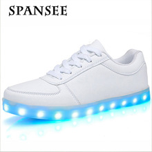 Spansee Fashion USB LED Light Up Shoes Glowing Shoes Basket Trainers Feminino Luminous Sneakers with Light Soles LED Slippers 22