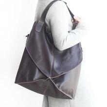 Новинка, Сумки из натуральной кожи для женщин, большой размер, с нитью, из кусков, мягкие кожаные сумки через плечо, женская сумка