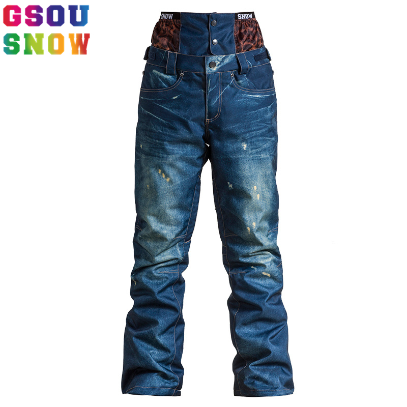 GSOU SNOW women Winter Denim Skiing Pant outdoor Snowboard jeans Breathable Waterproof Snow Pants Warmth Female Ski Trousers free shipping 8 channel 8 channel relay control panel plc relay 5v module for hot sale in stock 8 road 5v relay module