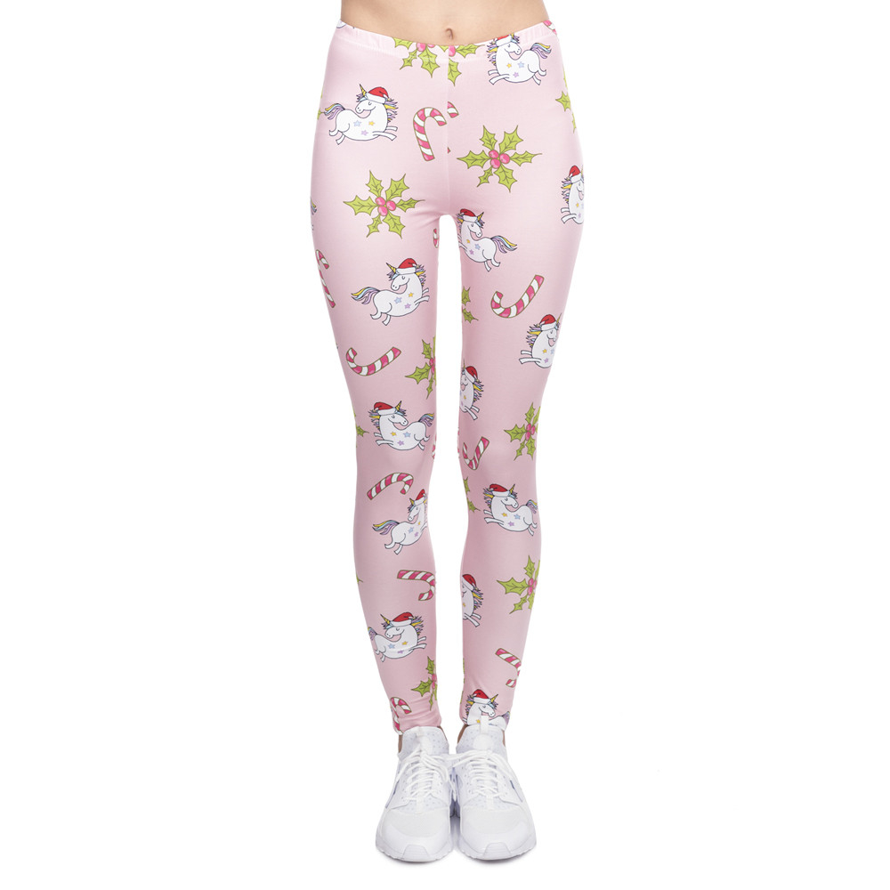 Fashion Elegant Women Legging Christmas Unicorns Printing Fitness Leggings High Waist Woman Pants