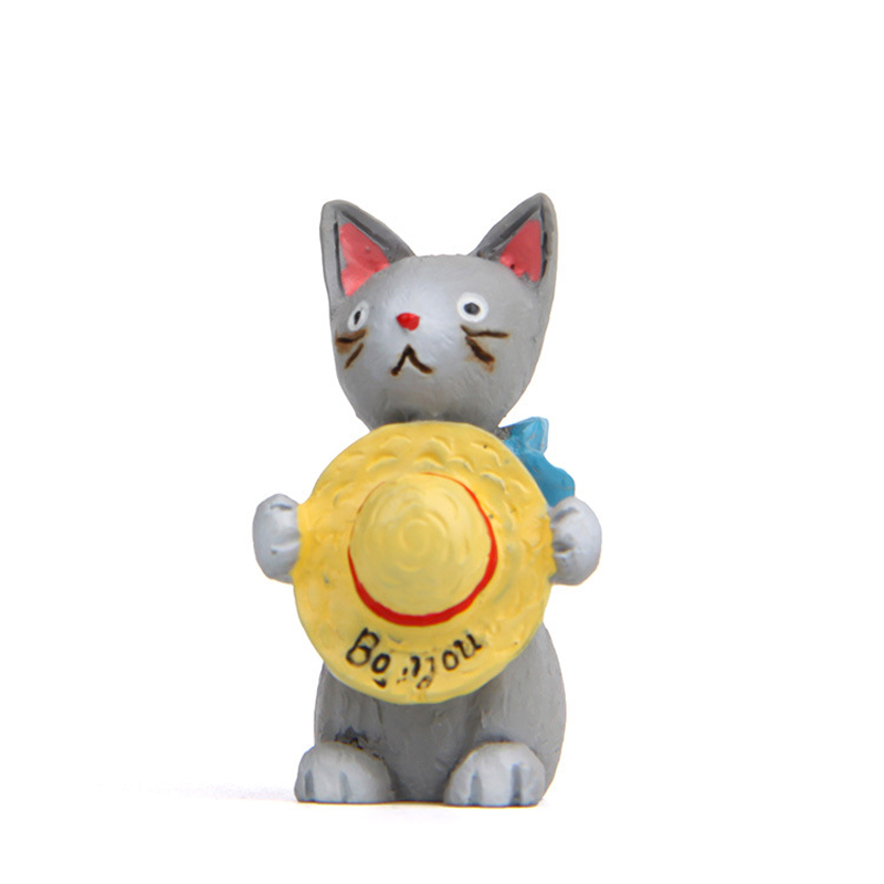 Japanes Zakka Cat Hold Hat Figure Toys Resin Kawai Cat Model Toys Props Garden Stands Ornaments Home Decor