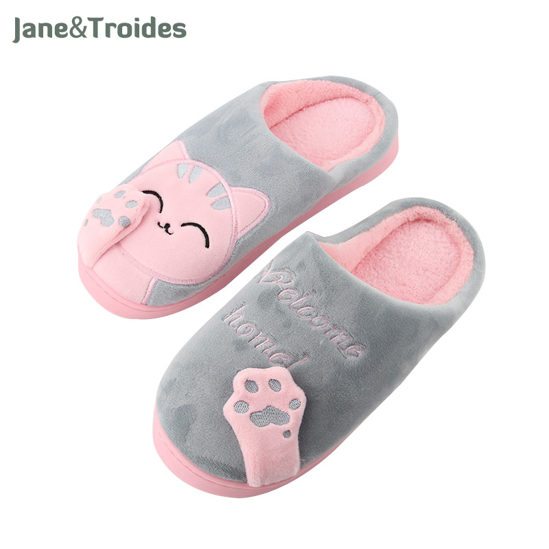 Cartoon Cat 3D Claw Fluffy Women Slippers Patchwork Thicken Anti Slip Flip Flops Casual Plush Warm Slippers Fashion Woman Shoes