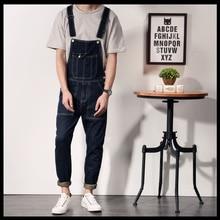 2016 New Brand Black Blue Mens Jeans Bib Overalls Fashion Male Long Jumpsuit Denim Overalls Men