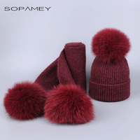 New Brand Mink And Fox Real Fur Ball Cap Pom Poms Winter Hat And Scarf Set