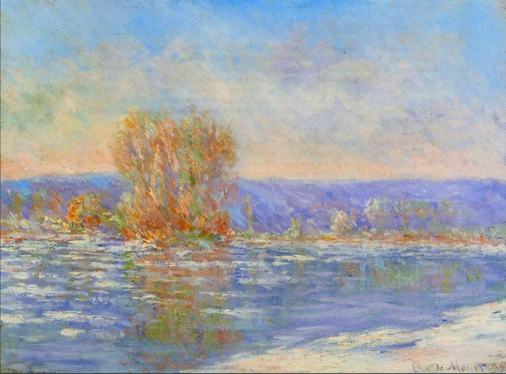 High quality Oil painting Canvas Reproductions Floating Ice near Bennecourt (1893)  by Claude Monet hand paintedHigh quality Oil painting Canvas Reproductions Floating Ice near Bennecourt (1893)  by Claude Monet hand painted