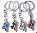 Fashion  Personality Double Heart Flower Key Chain Zinc Alloy Not Fading Key Ring Flash Bright Metal Keychain Hot  Selling!