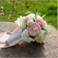 2017 Nuevo Ramo De La Boda Decoración de Perlas de Colores de Seda Rosa Artificial de Alta Calidad Novia Con Flores de Dama De Honor En Stock