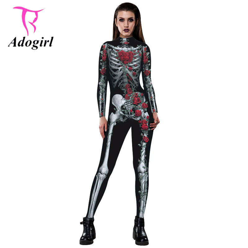 2017 New Halloween Party Clothes Women Skinny Rose and Skeleton 3D Print Jumpsuit Long Sleeve TurtleNeck