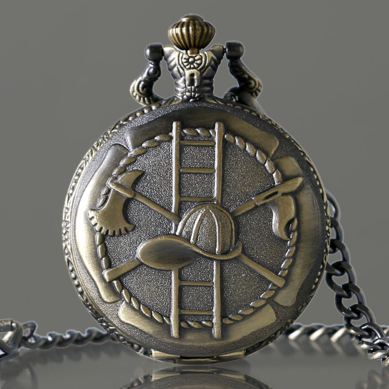Vintage Bronze/Silver Firefighting Theme Necklace Pendant Pocket Watch Men Retro Pendant Watches for Firefighter Best Gift P993C retro round rhinestone pendant long necklace bronze