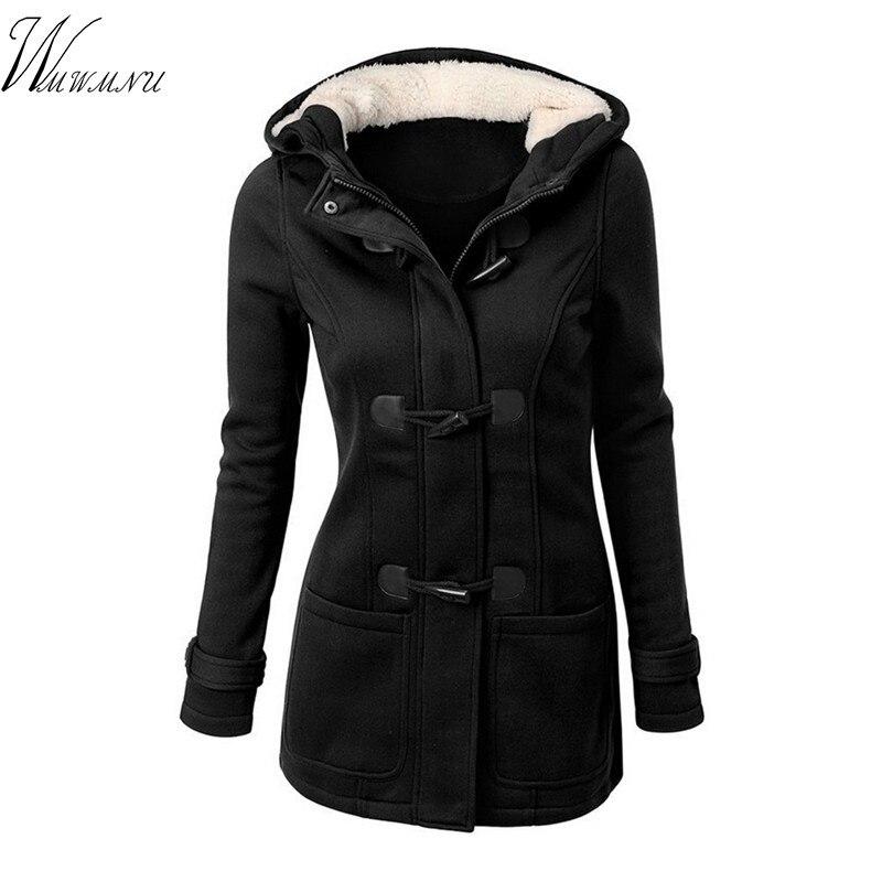 Women Casual Coat Spring Autumn Women's Overcoat Female Hooded Coat Zipper Horn Button Outwear   Basic     Jacket   Casaco Feminino