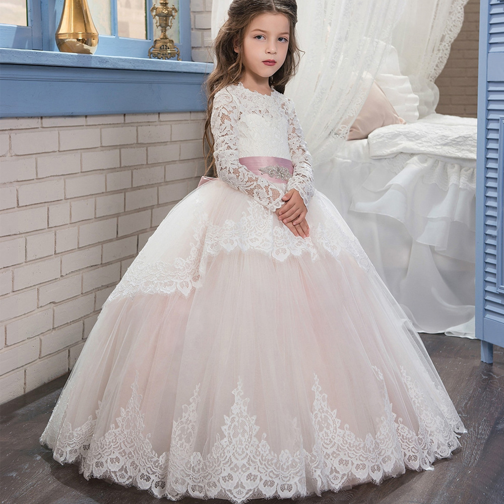 New Champagne Puffy Lace Flower Girl Dress for Weddings Long Sleeves Ball Gown Girl Party Communion Pageant Gown VestidosHW1084