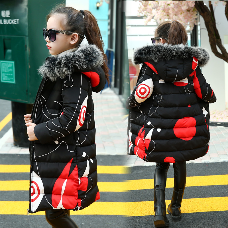 Teenage Girls 2017 New Black Red Thick Coat Winter Wear Costume For Size 6 7 8 9 10 11 12 13 14 Years Child Casual Down Jackets