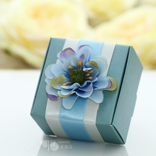 50psc Original Custom Blue Wedding Party Creative Quality Candy Boxes Personality Favors Gift Boxes Creative 6.5×6.5x5cm